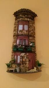 Imagem relacionada Clay Houses, Miniature Houses, Rock Crafts, Diy And Crafts, Glow Table, Plastic Bottle Flowers, Tile Crafts, Clay Fairies, Play Clay