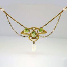 Original Art Nouveau Festoon Peridot Enamel & by YourJewelryFinder, $1200.00