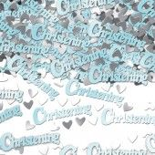 Pale blue baby boy Christening table confetti decoration