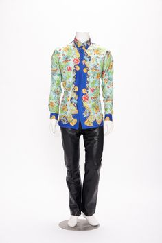 floral motif silk shirt by versus by gianni versace vintage 1990s • Revival Vintage Boutique by RevivalVintageBoutiq on Etsy