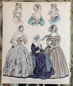 "Antique ladies fashion print 1840 from the ""World of fashion magazine"" | eBay"