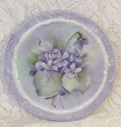 VIOLETS Hand Painted China Tea Tile Trivet Wine Coaster Caddy Plate Ship Disc