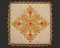 White embroidered liturgical pall