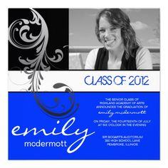Royal blue and orange class of 2014 photo graduation invitation