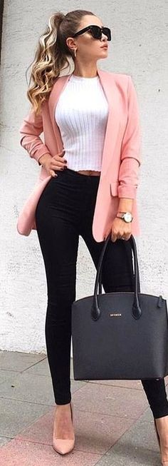 #spring #outfits women in pink blazer. Pic by @woman__streetstyles