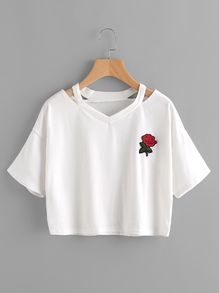 Mikialong Red Rose Embroidery Harajuku T Shirt Femme Short Sleeve Kawaii Crop Tops Women 2017 Summer T-shirts Cotton Camisetas Cute Crop Tops, Cropped Tops, Crop Top Shirts, Cute Shirts, Fashion Mode, Teen Fashion Outfits, Casual Outfits, Girl Outfits, Ladies Fashion