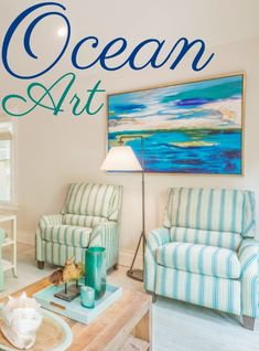 There is a sea of gorgeous ocean art to bring home in so many ways. And the art does not always have to hang above the sofa either, as this room shows, designed by David L. Smith Interiors. See all the great room with focal point ocean art on Completely Coastal.
