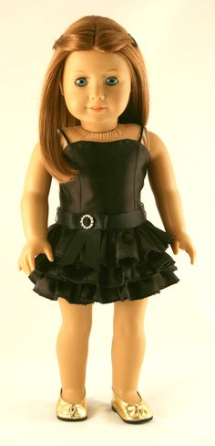 American Girl Doll Clothes - Original Black Dress With Ruffles And Ribbon Belt
