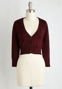 The Dream of the Crop Cardigan in Burgundy. Looking for a stylish sweater to add a dollop of darling to your wardrobe? #red #modcloth