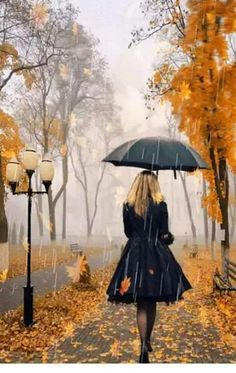 DIY Diamond Painting,Dartphew Autumn Maple Street with Rain & Umbrella Lady - Crafts & Sewing Cross Stitch,Wall Stickers for Home Living Room Umbrella Art, Under My Umbrella, Walking In The Rain, Singing In The Rain, I Love Rain, Girl In Rain, Autumn Rain, Autumn Leaves, Autumn Nature