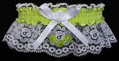 You are the 'Eligible Receiver' in this Homecoming Dance Garter with a pistachio satin band and matching faceted beads. Visit: www.garters.com/page38a.htm