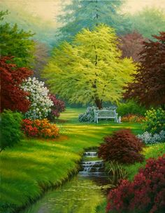 Magical garden Alternatives to Grass for your Backyard For a few, lowering costs can be Beautiful Paintings, Beautiful Landscapes, Beautiful Gardens, Landscape Art, Landscape Paintings, Kinkade Paintings, Garden Painting, Nature Pictures, Nature Photography