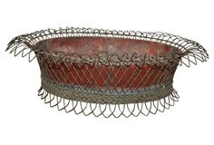 Antique Red Wire Planter