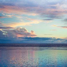 Sunset Raratonga Cook Island South Pacific Ocean by