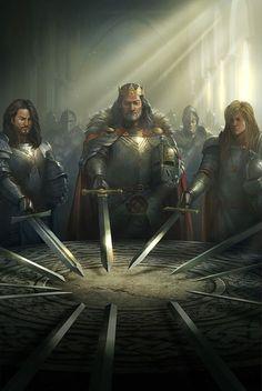 Cover Art for Kingdoms of Camelot by Kabam. Cover art by Galan Pang. Fantasy Inspiration, Character Inspiration, Character Art, Medieval Fantasy, Dark Fantasy, Medieval Swords, Roi Arthur, Art Disney, Armadura Medieval