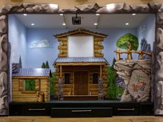Children's Worship Stage and Auditorium with Log Cabin Theme Kids Church Worship Design Ideas | www.facebook.com/cni.arkansas