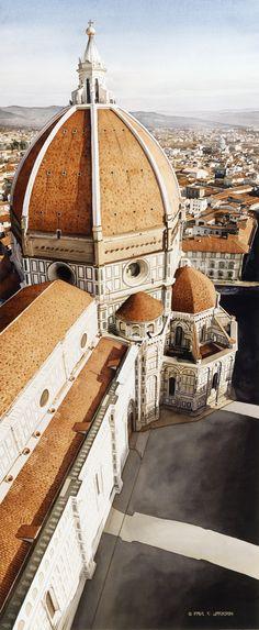 """""""Luce di Firenze"""" the Duomo Watercolor, Paul Jackson"""