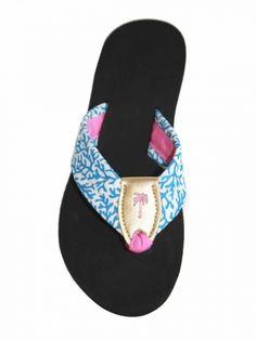 4f5b8fe0d808 Blue Coral Fabric Sandal with Gold Mettalic Peanut   Fiesta Toe Ribbon    Palm Logo
