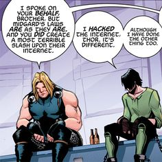 SLASH.  SLASH.  OMFG.  You guys know what I'm talking about.  (I know what kinda slash Teen-Loki would write...though, now I'm wondering if Kid Loki wrote slash...ohhhhhhhhohhhh crap, my mind is going places...@_@)