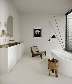 Home Interior Scandinavian .Home Interior Scandinavian Zen Bathroom Design, Bathroom Interior Design, Home Interior, Master Bathroom, Bathroom Vanities, Chair In Bathroom, Bathroom Lino, Interior Colors, White Bathroom