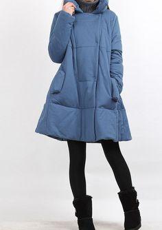 Winter single row of dark button padded Coat by MaLieb on Etsy, $126.00