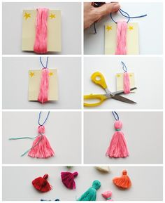 Easter nest ideas: DIY chunky yarn keychain with tassels and pom poms - Think.DIY Chunky Yarn Keychain with pompom and tasselsSuper easy DIY pom & tassel bag charmSuper Simple DIY Pom Pom + Tassel Bag Craft Stick Crafts, Crafts To Do, Crafts For Kids, Diy Crafts, Diy Embroidery Thread, Embroidery Designs, Diy Broderie, How To Make Tassels, Making Tassels