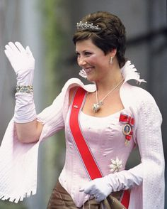Princess Märtha Louise of Norway outside Oslo Cathedral; wedding of Crown Prince Haakon of Norway and ms. Mette-Marit Tjessem Høiby, August 25th 2001