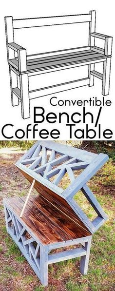 HOW TO: Build a DIY Bench Coffee Table convertible ana white #howtobuildabirdhouse