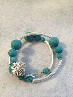 Double Turquoise and Silver Tube Bracelet by PCMRNTREASURESJEWELS