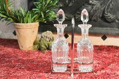 Crystal Cruet Bottles with Stoppers - Oil & Vinegar Bottle Set - Silver Plate Cruet Bottle Holder - Two Bottle Set - Ground Glass Stoppers