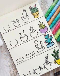 drawing easy doodle beginners succulents drawings doodles simple