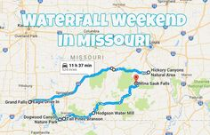 Here's The Perfect Weekend Itinerary If You Love Exploring Missouri's Waterfalls Take this road trip to explore Missouri's most beautiful waterfalls with a couple overnight stays and a tasty meal along the way. Weekend Trips, Weekend Getaways, Day Trips, Weekend Weather, Branson Missouri, Kansas City Missouri, Vacation Destinations, Dream Vacations, Viajes
