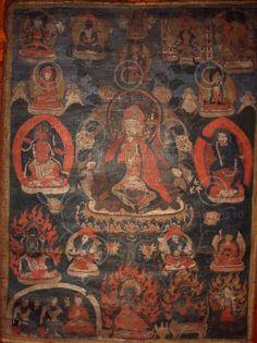 Bouddha Amitabha.  Newar.  Vallée de Katmandu, Népal.  18-19ème siècle.  52x70 cms.