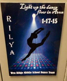 "Dance competition locker decoration for middle school dance team. Themed was ""light up the dance floor!"""