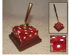 Vintage Souvenir Red Dice Pencil Pen Holder from by PuppyLuckArt
