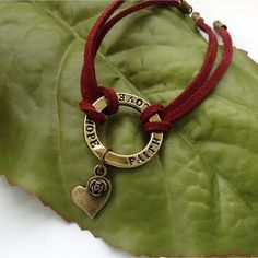 Dark red faux suede cord bracelet by Blue Forest Jewellery, via Flickr