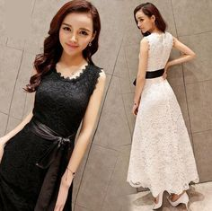 Womens Sundress Belted Lace Sleeveless Ladies Long Evening Party Prom Dress