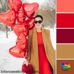 Reds and camels make a fabulous Warm color palette #coloranalysis #colorpalettes #stylebloggers #colorpalettestyle #stylebloggers #colorpalettestyle #over40