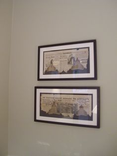 1940s newspaper articles framed and conserved by framing to