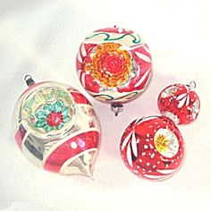 3 fancy red multi indents german glass christmas ornaments