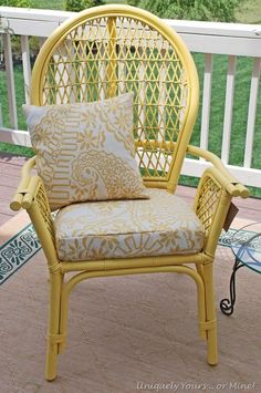 Updated balloon back rattan chair, painted Summer Squash Yellow Ratan Furniture, Cane Furniture, Bamboo Furniture, Dining Furniture, Painted Furniture, Furniture Design, Painted Bamboo, Painted Wicker, Chair Makeover