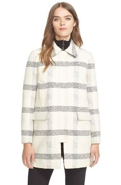 Free shipping and returns on Tory Burch Stitched Plaid Coat at Nordstrom.com. A stitched windowpane plaid design offers a fresh take on a classic season-spanning topper streamlined by low-profile pockets and a covered placket.