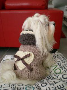 Cappottini per cani fai da te ai ferri Pagina 2 - Fotogallery Donnaclick Dog Wear, Dog Dresses, Dog Coats, Dog Sweaters, Pet Clothes, Crochet Animals, Dog Closet, Crochet Dog Sweater, Dog Jumpers