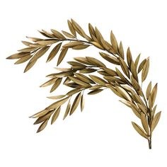 Brass Olive Branch Left Wall Décor ($330) ❤ liked on Polyvore featuring home, home decor, plants and brass home decor