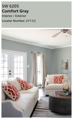 Joanna's favorite paint colors. Sherwin Williams Comfort Gray really isn't very gray at all in my opinion. It's another dusty blue green. And I'm in l… – Living room Room Colors, Living Room Interior, Living Room Colors, Bedroom Colors, Living Room Color, Living Room Remodel, Living Room Grey, Room Paint Colors, Room Paint