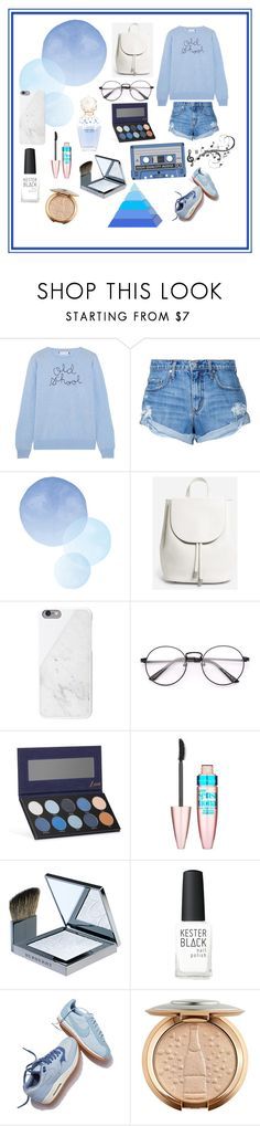 """""""B. L. U. E."""" by fashion-baby13 ❤ liked on Polyvore featuring Lingua Franca, Nobody Denim, Everlane, Marc Jacobs, Luxie, Maybelline, Burberry, Kester Black and NIKE"""