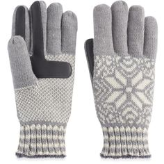 Women's Isotoner Snowflake Knit smarTouch smartDRI Tech Gloves (25 CAD) ❤ liked on Polyvore featuring accessories, gloves, grey, isotoner, touchscreen compatible gloves, gray gloves, isotoner gloves and knit gloves