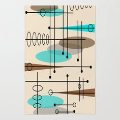 Mid-Century Modern Atomic Inspired Area & Throw Rug – Home Design Arts Mid Century Modern Decor, Mid Century Art, Mid Century House, Mid Century Design, Midcentury Modern, Midcentury Wallpaper, Modern Rugs, Modern Living, Flat Design