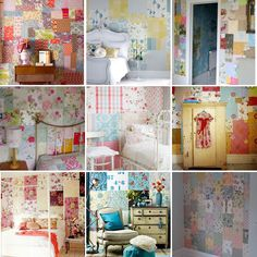 How to make a patchwork wallpaper wall using vintage wallpapers.