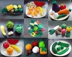 A huge assortment of fruits and veggies.  Makes me want to eat the real thing!